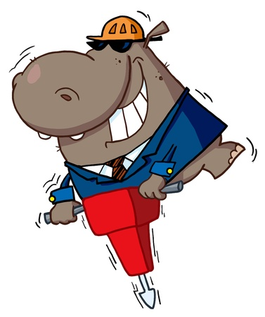 Happy Hippo Worker Operating A Vibrating Jackhammer Vector