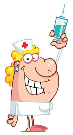 nursing: Female Nurse Holding A Syringe