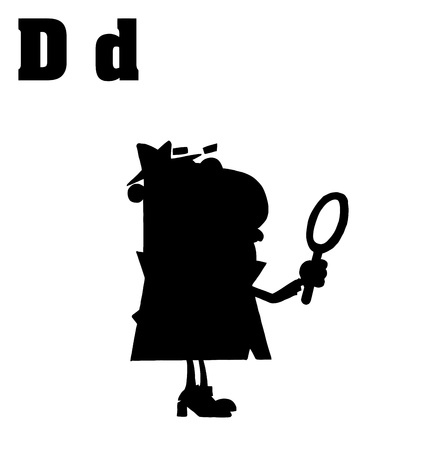 silhouetted: Silhouetted Detective With Letters D