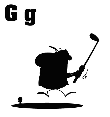 Silhouetted Male Golfer With Letters G Stock Vector - 16511652