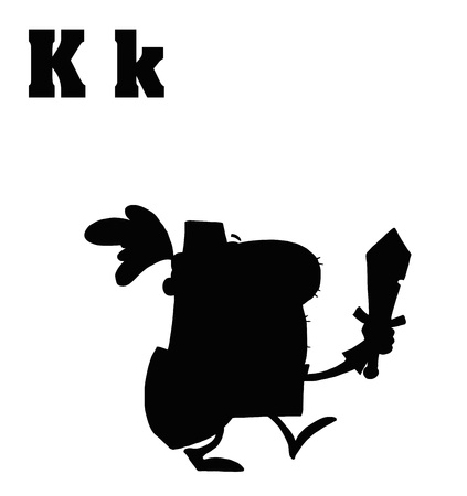 Silhouetted Knight With Letters K Stock Vector - 16511642