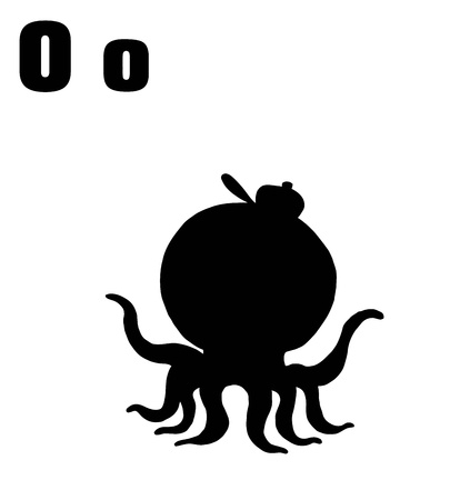 Silhouetted Octopus With Letters O Stock Vector - 16511626