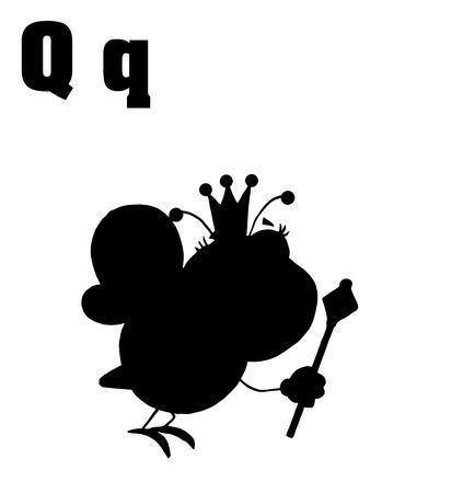 bee queen: Queen Bee Siluetas con las letras Q
