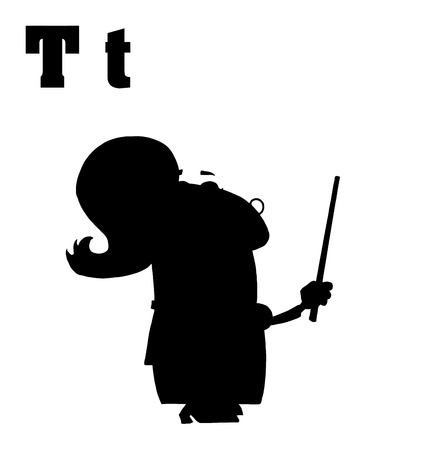 silhouetted: Silhouetted Female Teacher With Letters T