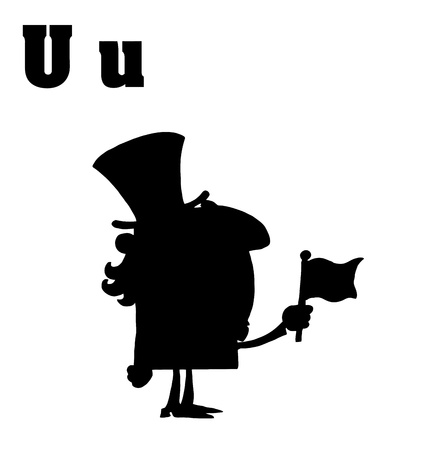 sam: Silhouetted Uncle Sam With Letters U Illustration