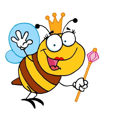 bee queen: Queen Bee personaje de dibujos animados que agita a saludos Vectores