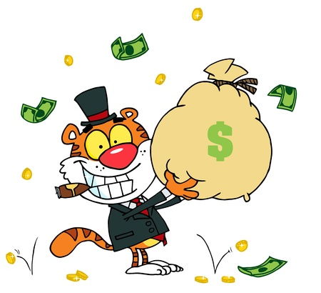 money cat: Tiger Smoking A Cigar And Holding Up A Bag Of Money Illustration