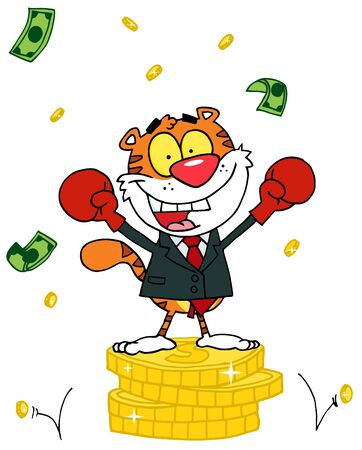 money cat: Cartoon Character Animal Happy Tiger elated With Victory Illustration