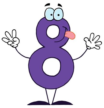 number eight: Funny Cartoon Numbers-8 Illustration