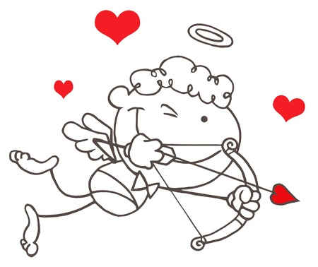 eros: Cartoon Stick Cupid with Bow and Arrow Flying Illustration