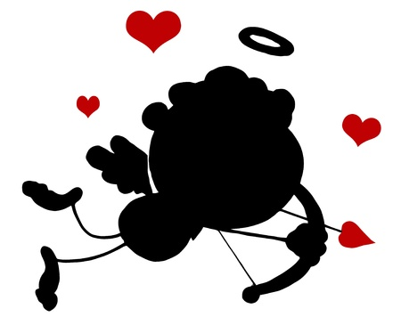 Black Stick Silhouette Cupid with Bow and Arrow Flying With Hearts Stock Vector - 16511646