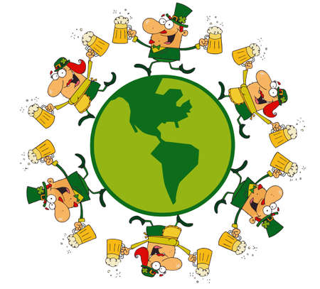 leprechauns: Circle Of Lucky Male And Female Leprechauns Running Around A Globe With Beer