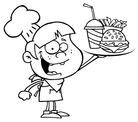 cheeseburger: Outlined Burger Boy Holding Up A Cheeseburger Illustration