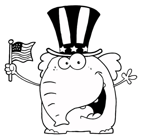 Outlined Patriotic Elephant Wearing A Hat And Waving An American Flag Vector