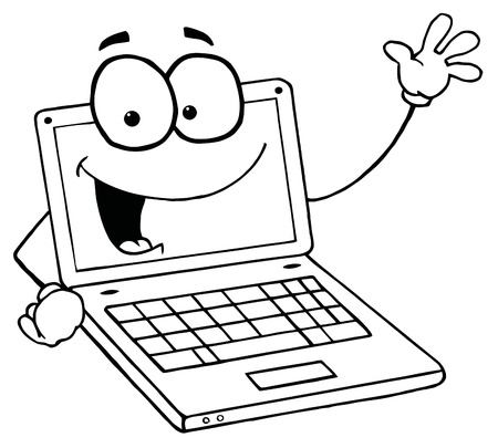 Outlined Laptop Guy Waving And Smiling