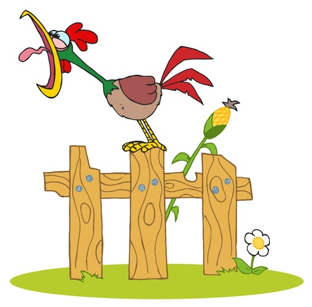 Mascot Cartoon Character A Cock Crowing Stepped On The Fence Vector