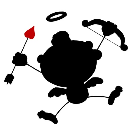 Black Stick Silhouette Cupid with Bow and Arrow Flying Vector