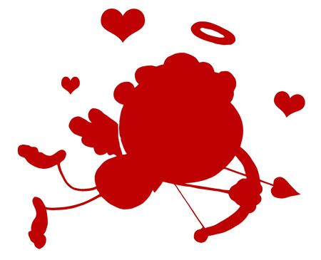 Red Stick Silhouette Cupid with Bow and Arrow Flying With Hearts Vector
