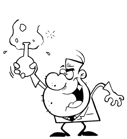 Outlined Mad Scientist Man Grinning And Holding A Laboratory Flask