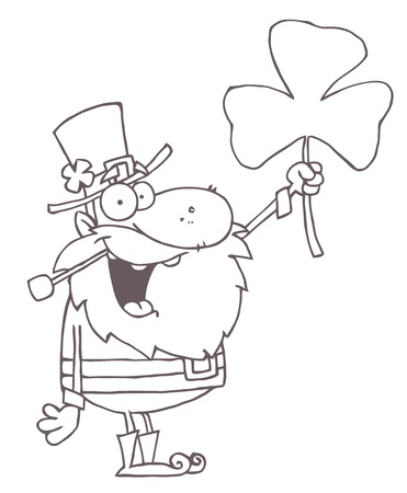 Outlined Male Leprechaun Holding Up A Clover Stock Vector - 16533061