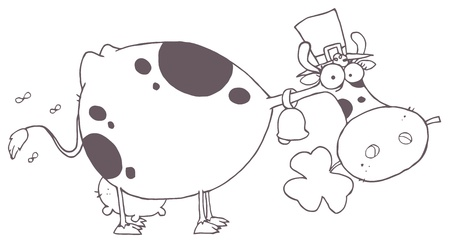 Outlined St Patricks Day Cow Wearing A Hat And Chewing On A Clover Çizim