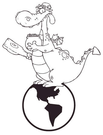 Greedy leprechaun running through shamrocks with a pot of gold outlined dragon leprechaun on a globe vector ccuart Choice Image