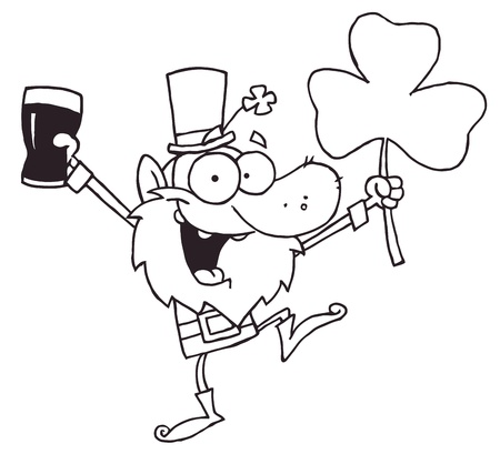 Outlined Dancing Leprechaun Holding A Clover And Beer Vector
