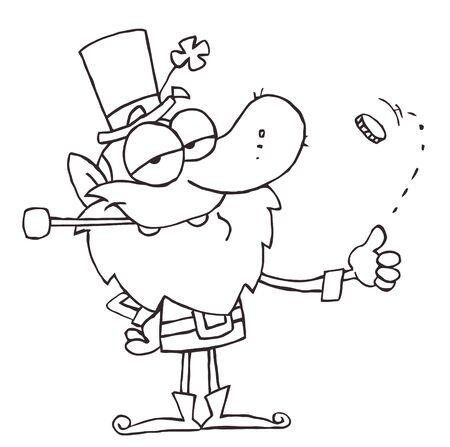 flipping: Outlined Leprechaun Flipping A Coin Illustration