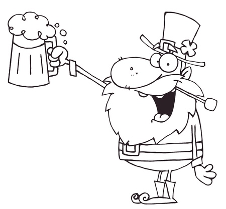 Outlined Leprechaun Toasting And Holding Up Beer Vector