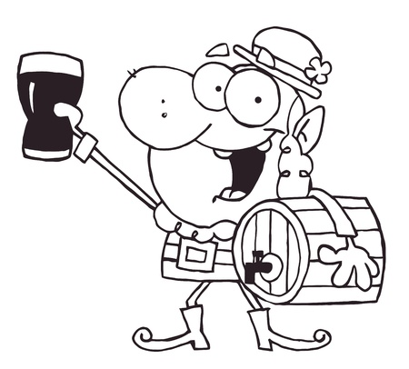 Outlined Leprechaun Carrying A Beer Keg And Holding Up A Glass Stock Vector - 16533081