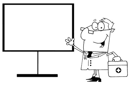 Outlined Male Doctor Standing By A Blank Board Vector