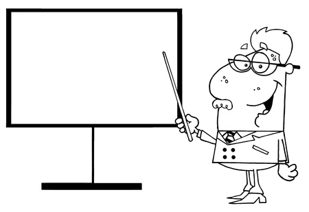 Outlined Senior Male School Teacher Pointing Chalk Board Vector
