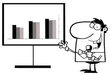 talk show: Outlined Talk Show Host Beside A Statistics Board Illustration