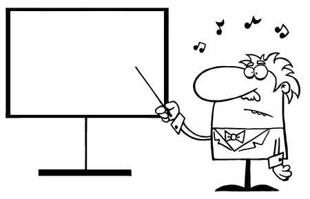 Outlined Music Teacher Pointing To A Blank Board Vector