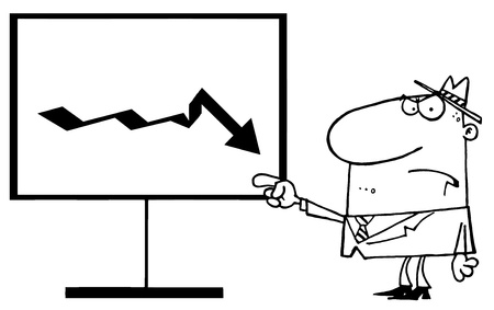 decrease: Outlined Grumpy Boss Pointing To A Decrease Board
