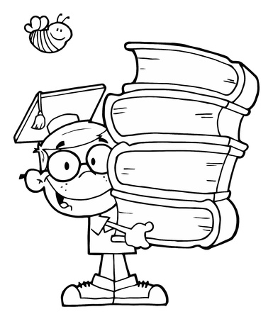 Bee Over An Outlined Graduate School Boy Carrying A Stack Of Books Vector