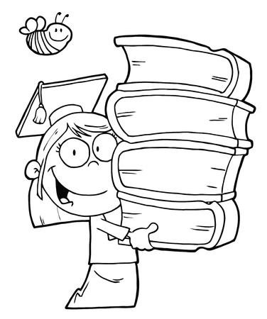 Bee Over An Outlined Graduate School Girl Carrying A Stack Of Books Vector