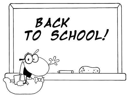 bücherwurm: Outlined Studenten Bookworm By A Back To School Classroom Chalkboard Illustration