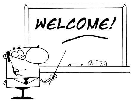Outlined Male School Teacher Pointing To A Welcome Chalkboard Vector