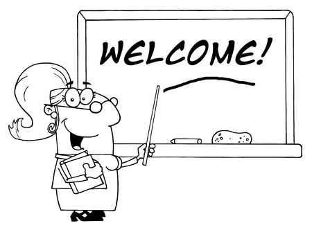 Outlined Female School Teacher Pointing To Welcome On A Chalkboard Ilustracja