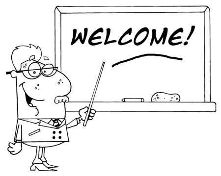 chalk outline: Outlined School Teacher Pointing To A Welcome Chalkboard
