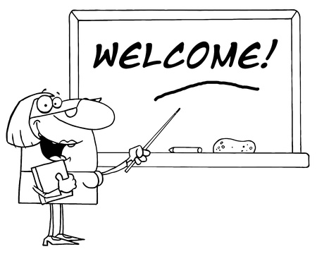 Outlined Female School Teacher Pointing To Welcome On A Chalkboard Vector