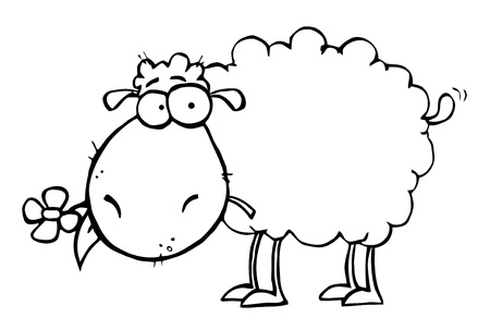 cartoon sheep: Outlined Sheep Carrying A Flower In Its Mouth