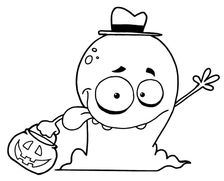 Goofy Outlined Halloween Ghost Waving Vector