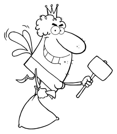 Outlined Male Tooth Fairy Flying With A Bag And Mallet Vector
