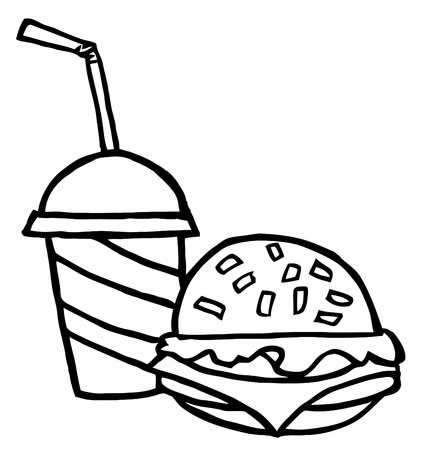 Outlined Cheeseburger Served With Drink Vector