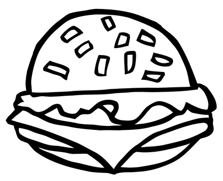Outlined Cartoon Cheeseburger Vector
