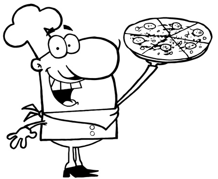 Outlined Chef Presenting His Pizza Pie Vector
