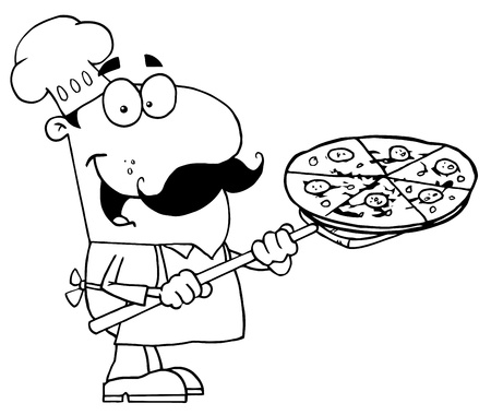 web desig: Outlined Male Pizzeria Chef Holding A Pizza Illustration