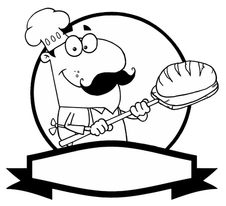 chef clipart: Outlined Baker Holding Bread Over A Circle And Blank Banner